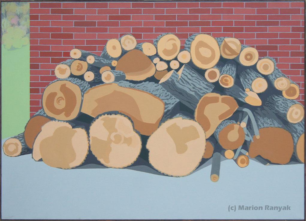 MR-255 Log Pile Against Brick Wall (Sold)